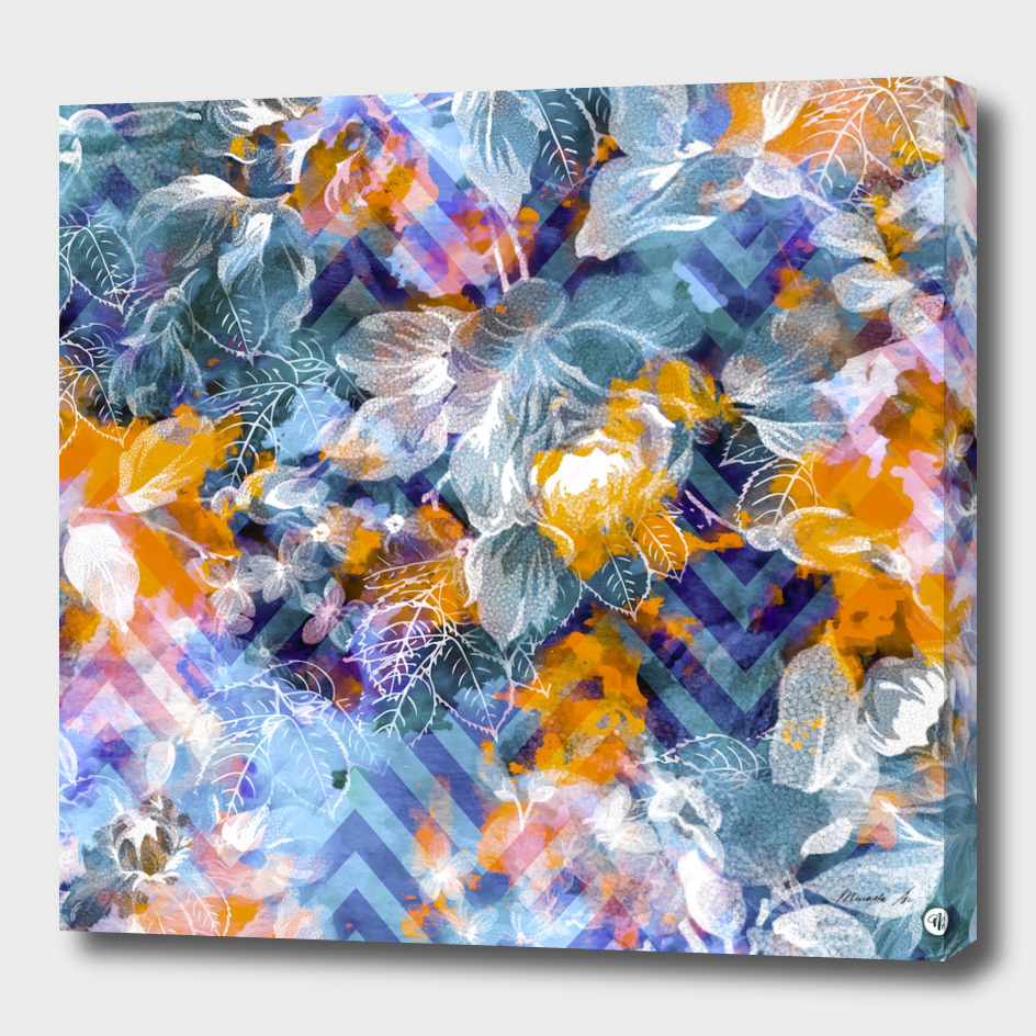 Abstract flowers and plants with geometric