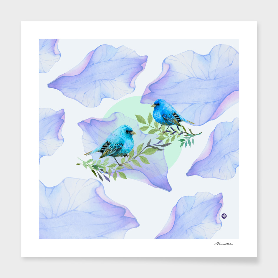 Blue nature - leaves and birds