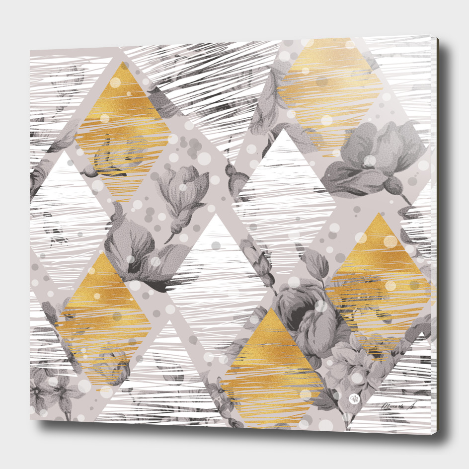 Abstract geometric shapes with flowers