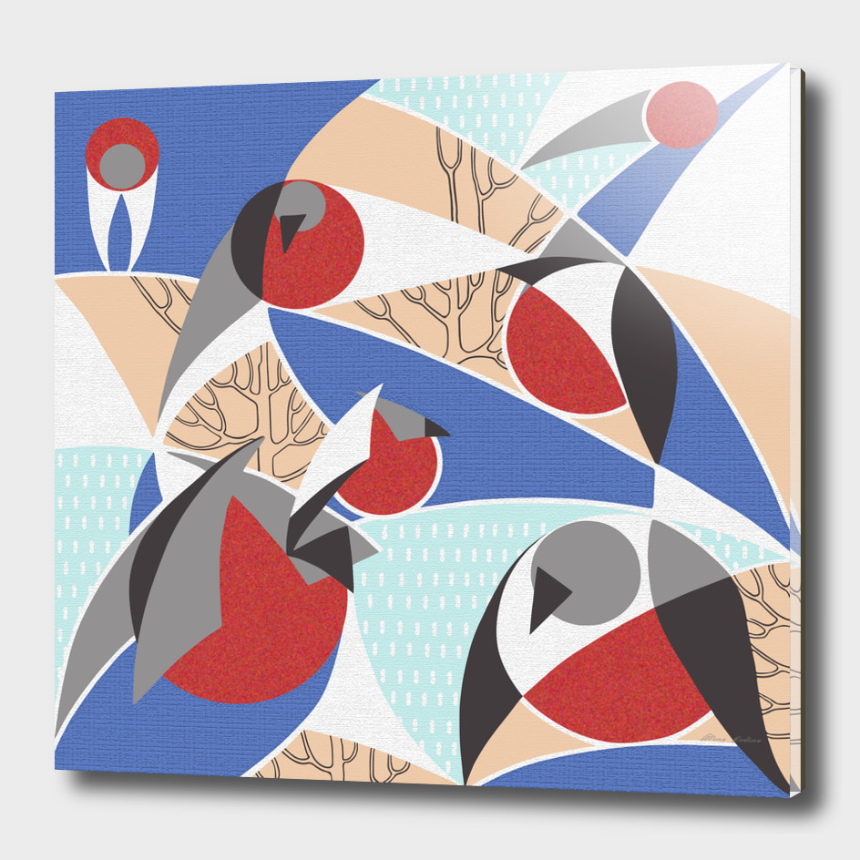 Birds bullfinches in blue, red and cream colors