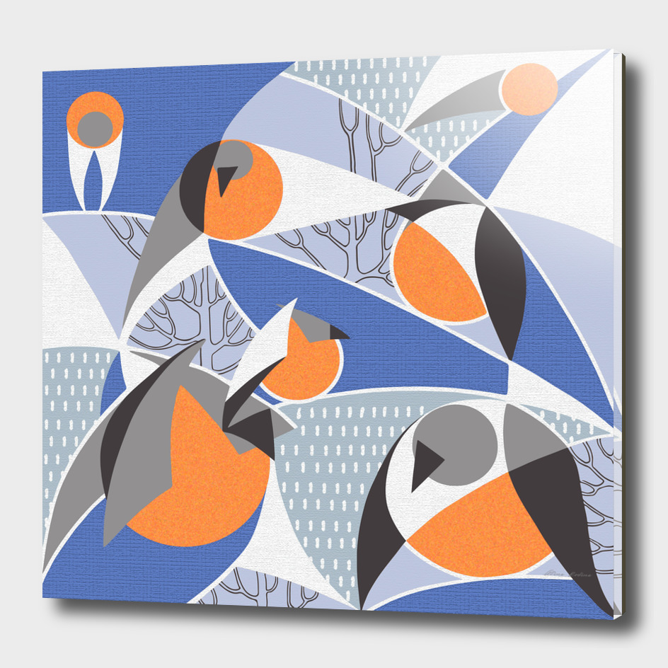 Birds bullfinches in blue, grey and orange colors