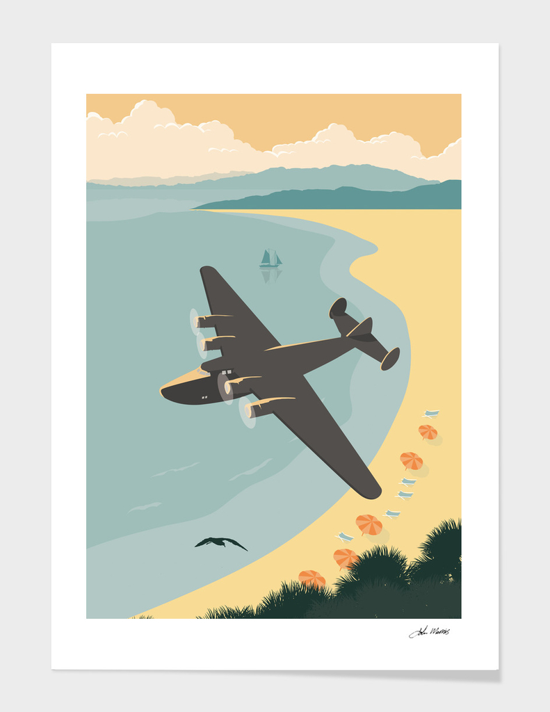 Vintage Plane Over The Beach
