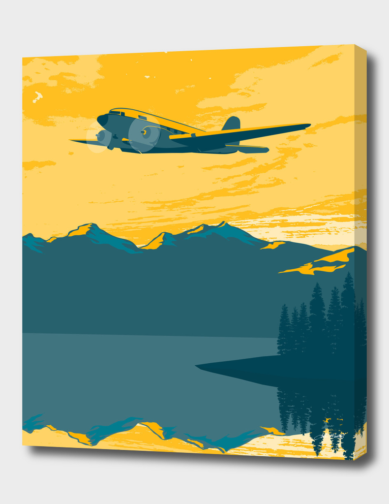 Vintage Plane Over the Mountains