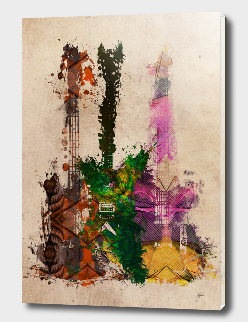 3 guitars art