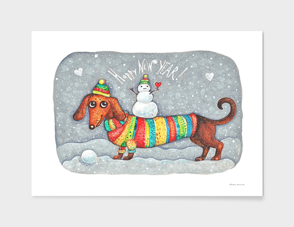 Dachshund in a suit with a snowman - New Year