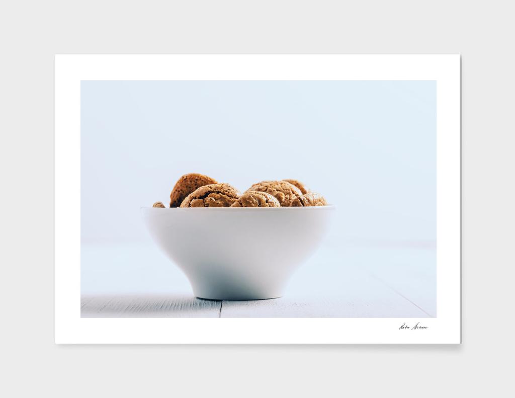 Italian Amaretti Biscuits In White Bowl