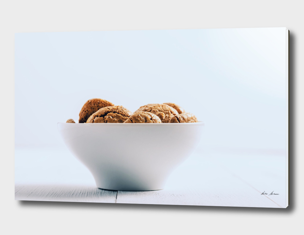 Italian Amaretti Biscuits In White Bowl