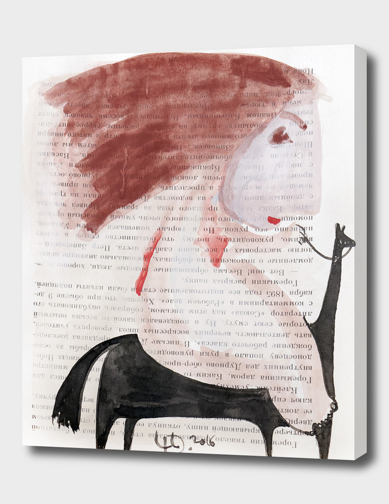 Red hair ride on black horse