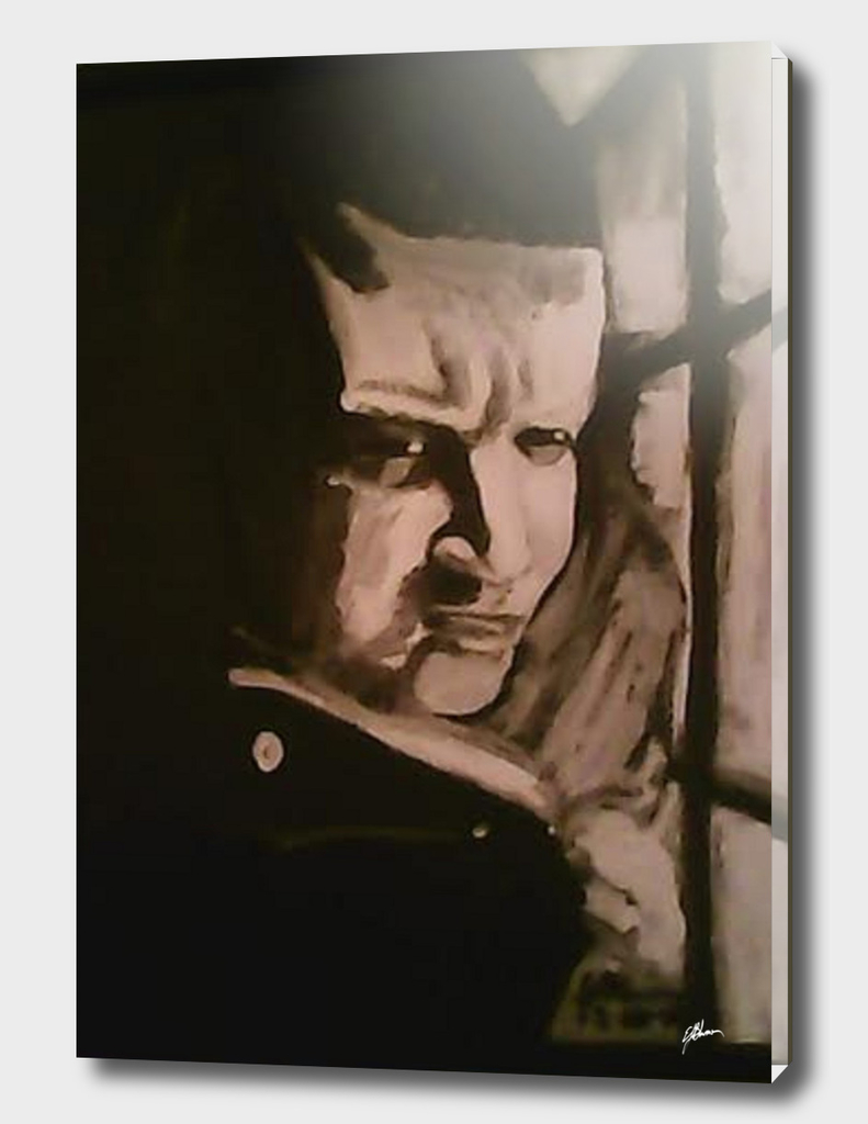 Black and White Acrylic painting of my nephew