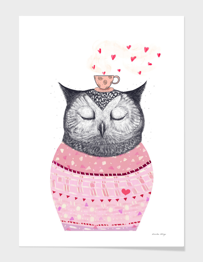 Owl lover of coffee