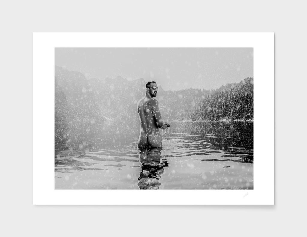 Self Portrait Alpine Lake Snow Bath
