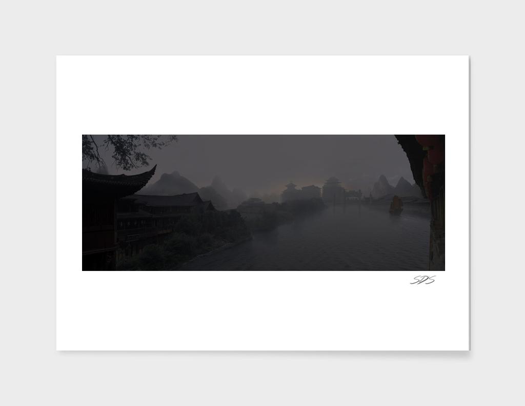 Village in the fog