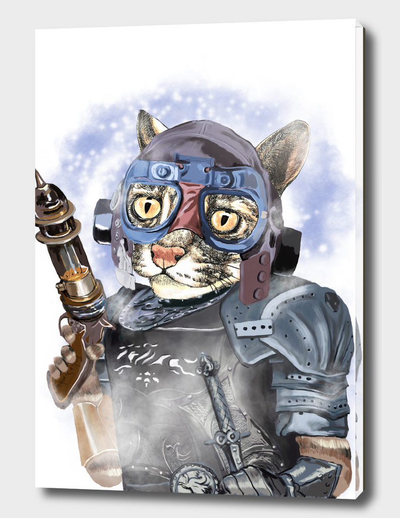 Naughty Pilot Cat with Laser Gun and Heavy Armor