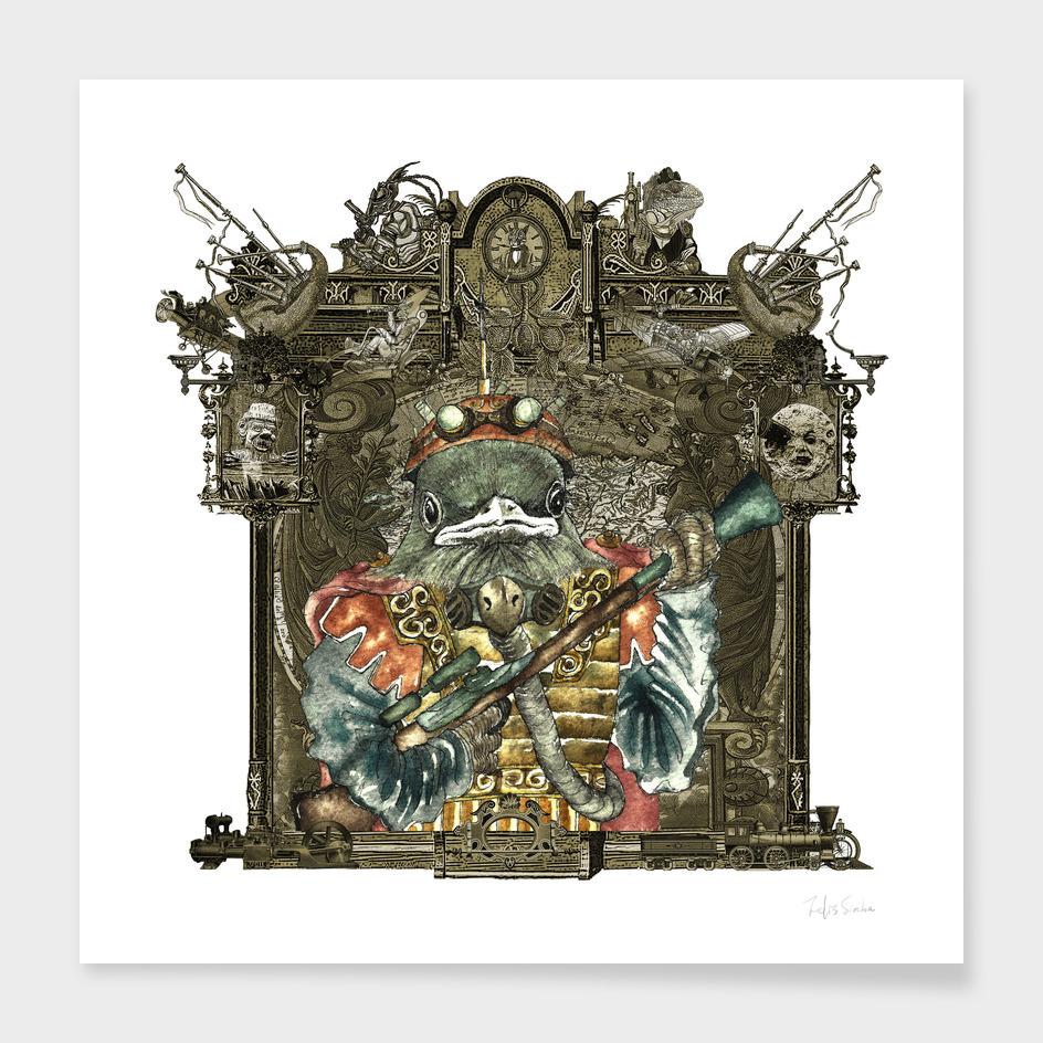 Steampunk Bird Sky Patrol (delicate frame)