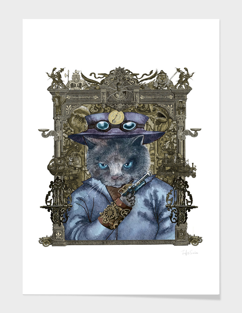Cat in Blue Leather Jacket with Magical Bracelet (frame)