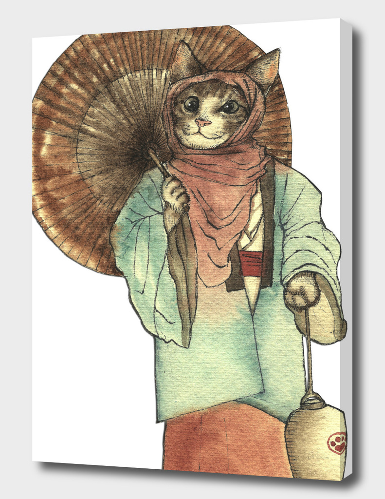 Umbrella Halfing Cat with Her Lantern