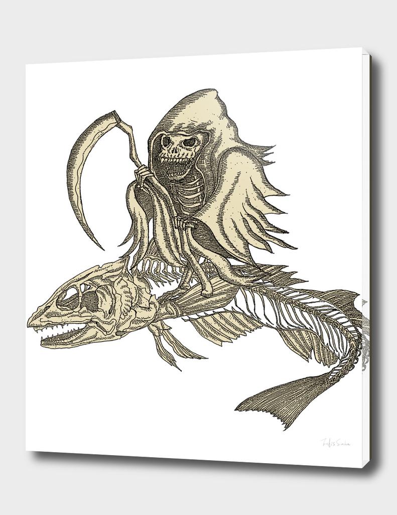 Dark Skeleton Knight with Fish Skeleton Vehicle