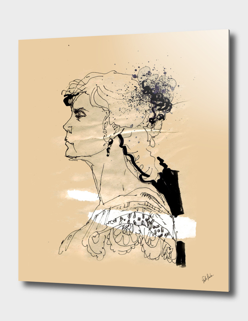 Vintage girl ink drawing on craft paper