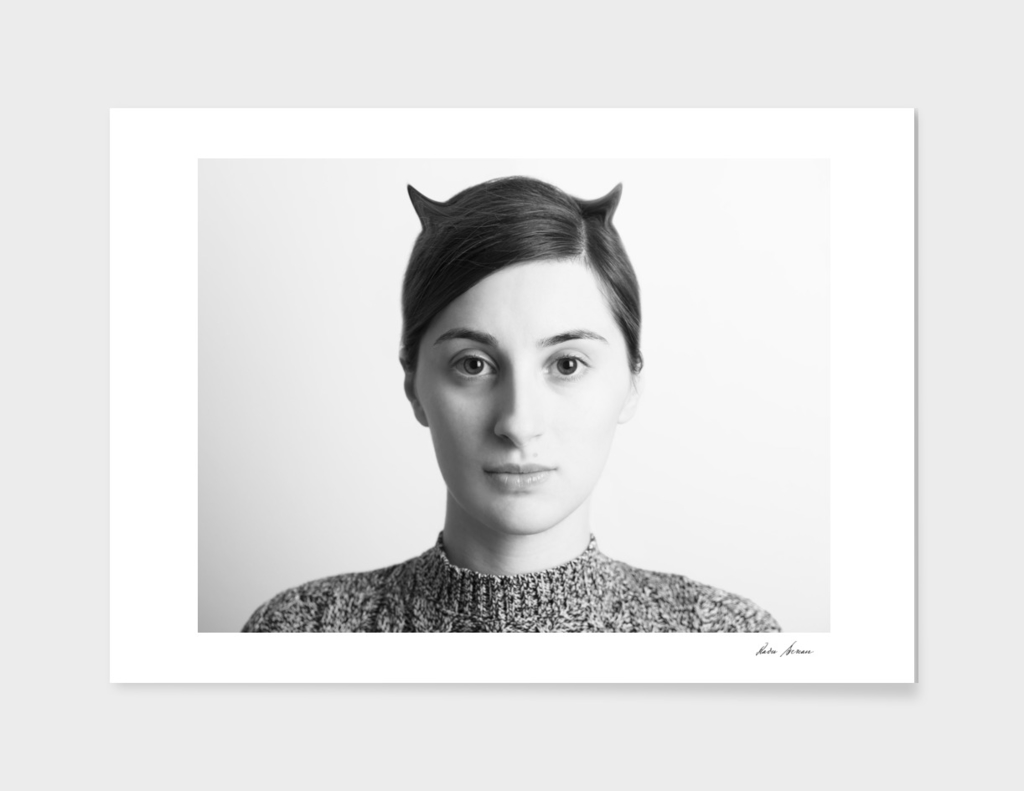 Black and White Abstract Woman Portrait Of Evil Concept