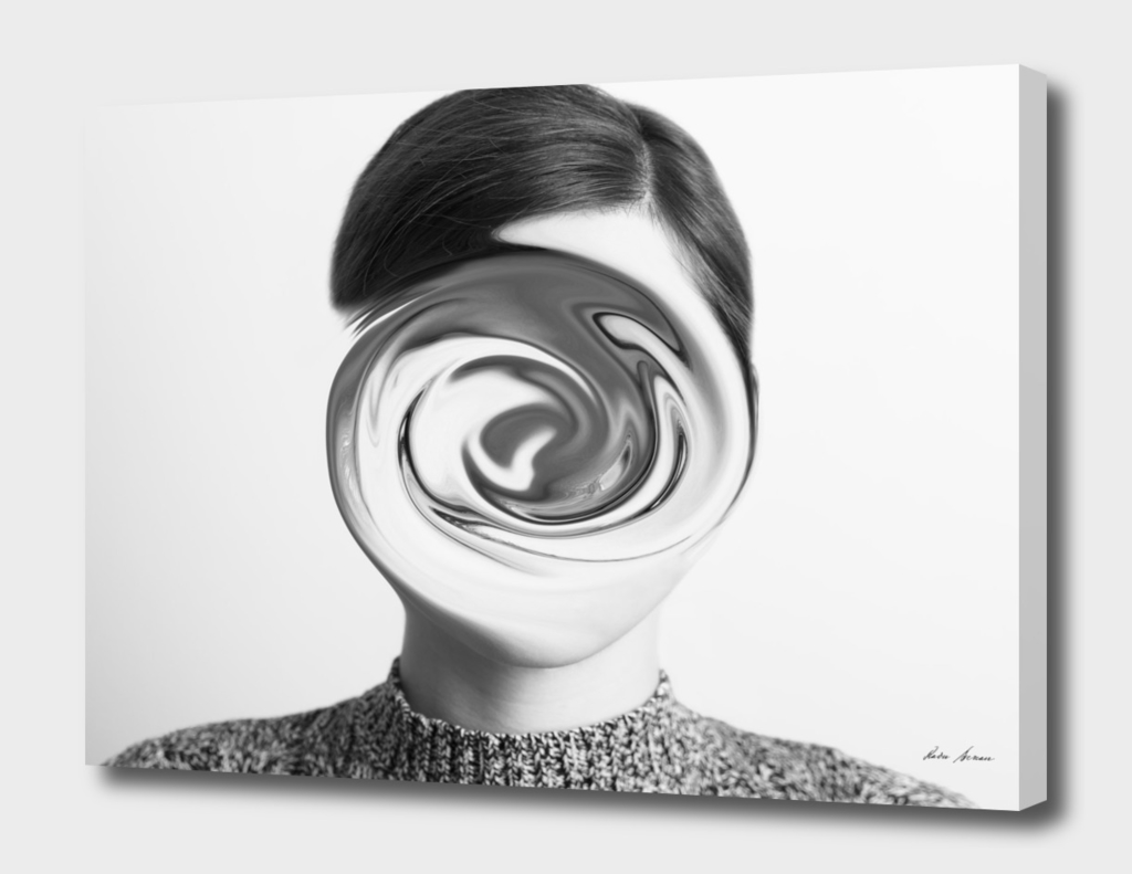 Black and White Abstract Woman Portrait Of Confusion Concept