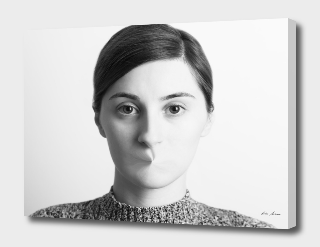 Black and White Woman Portrait Of Freedom Of Speech Concept