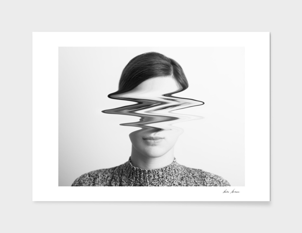 Black and White Woman Portrait Of Restlessness Concept