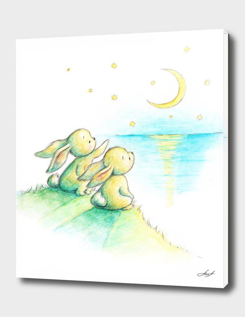 bunnies and moon