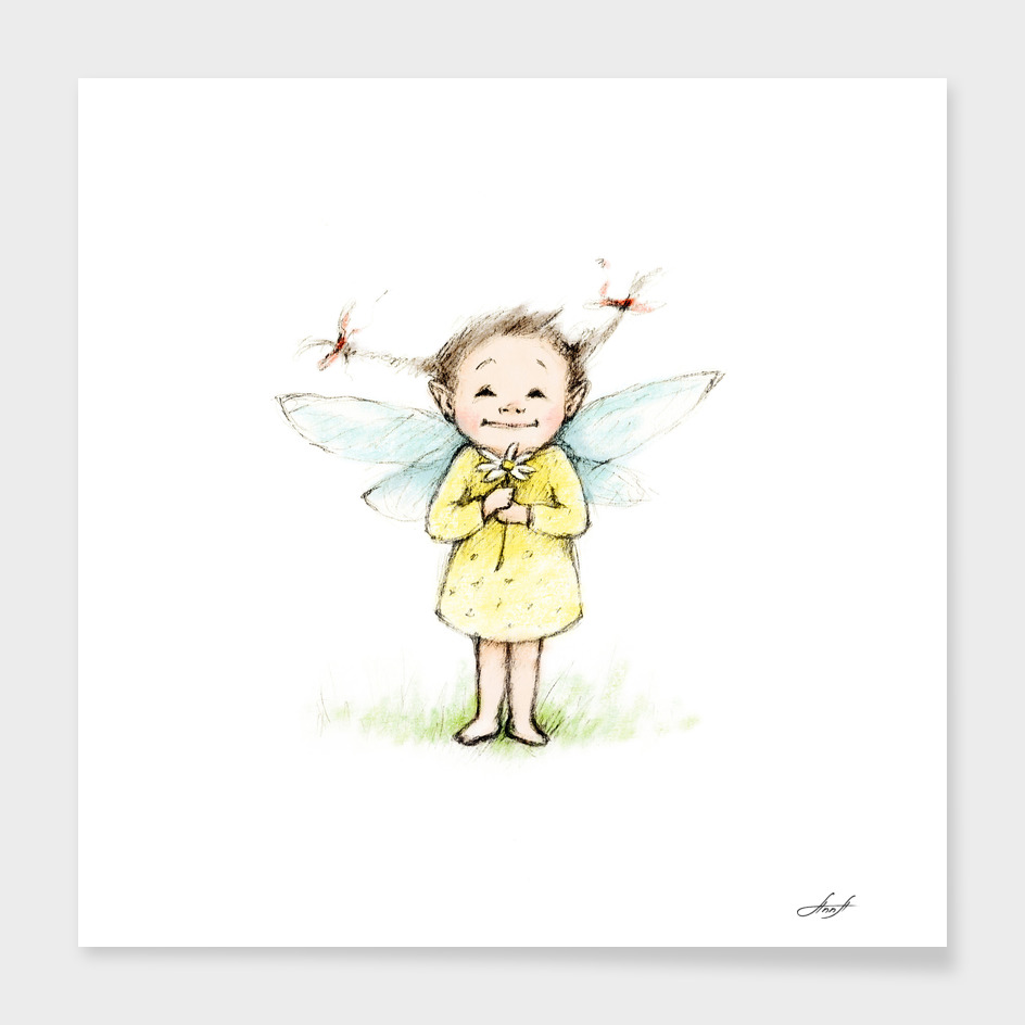 little fairy with flower