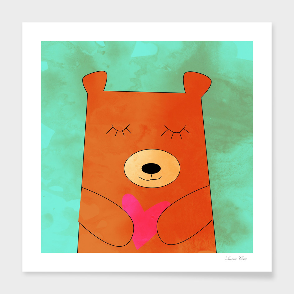Bear in love blue