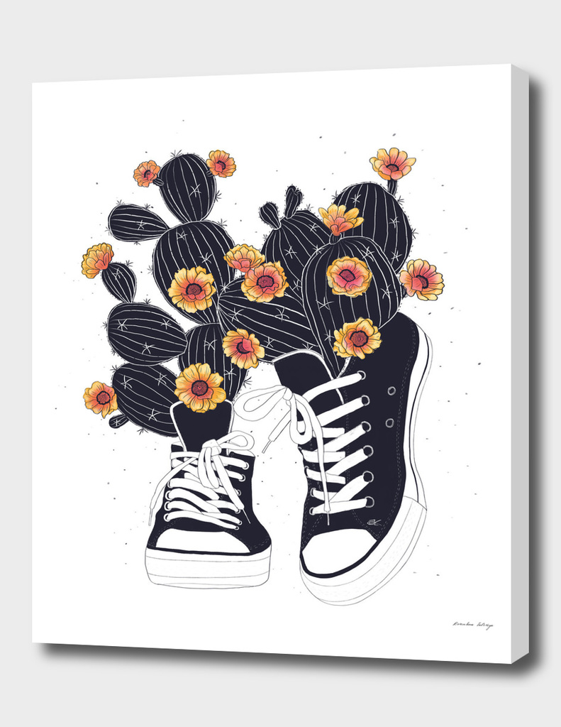 Sneakers with cactus
