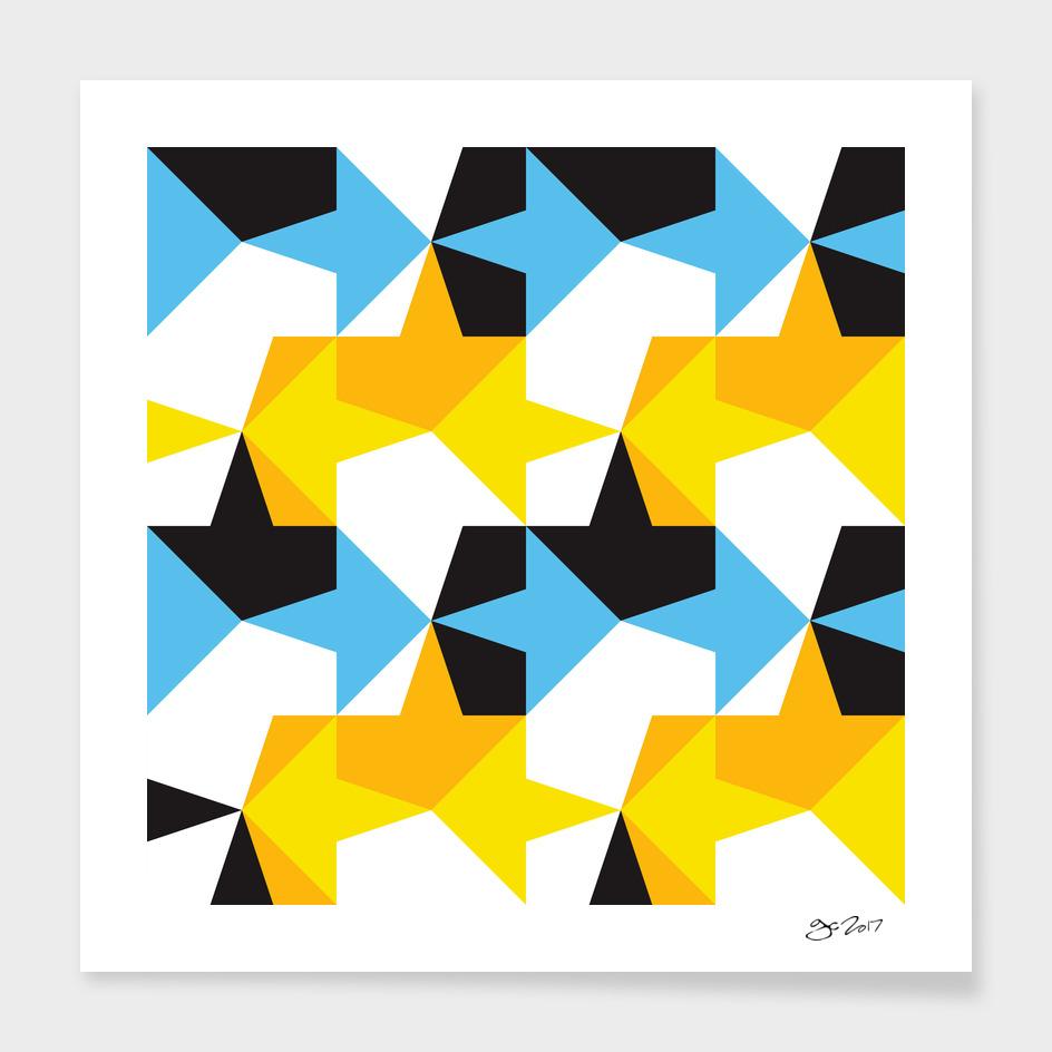 Blue, Yellow, Orange & Black Geometric Pattern