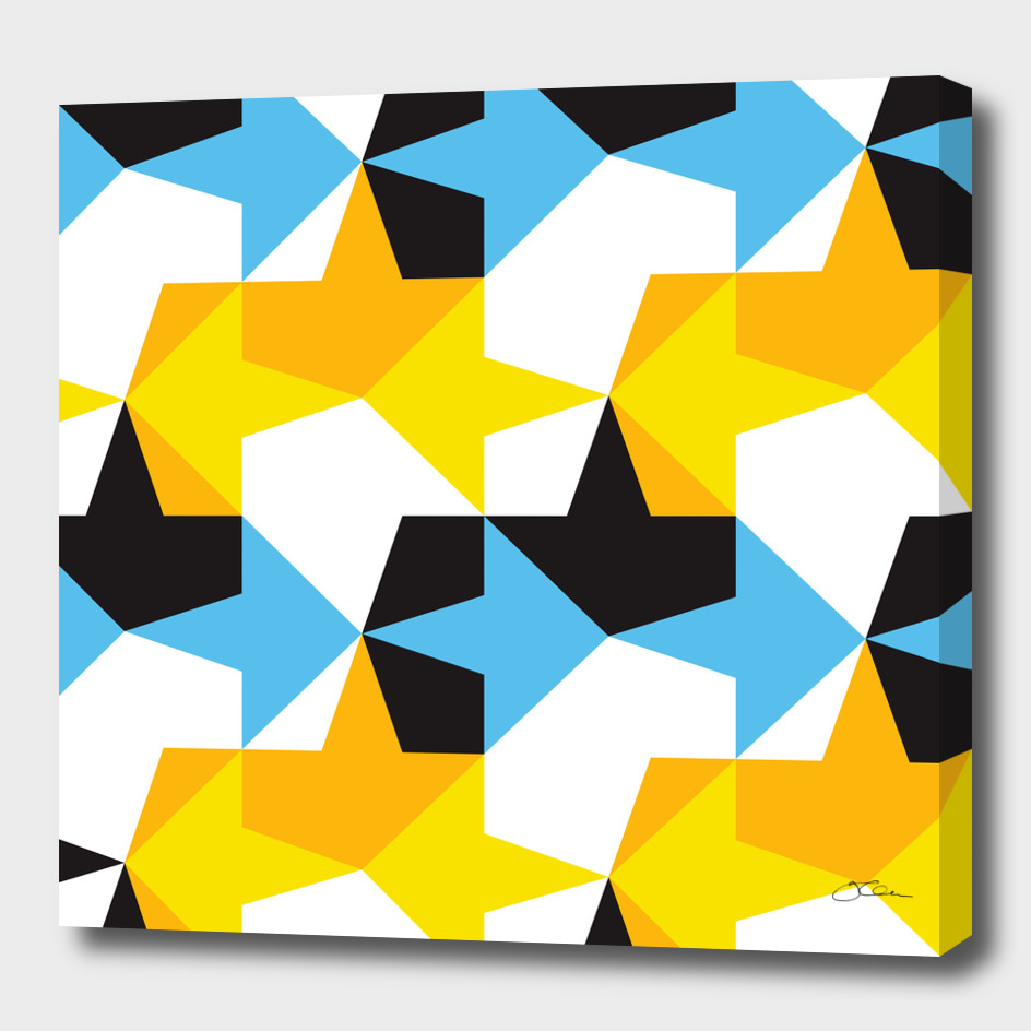 Blue, Yellow, Orange & Black Geometric Pattern