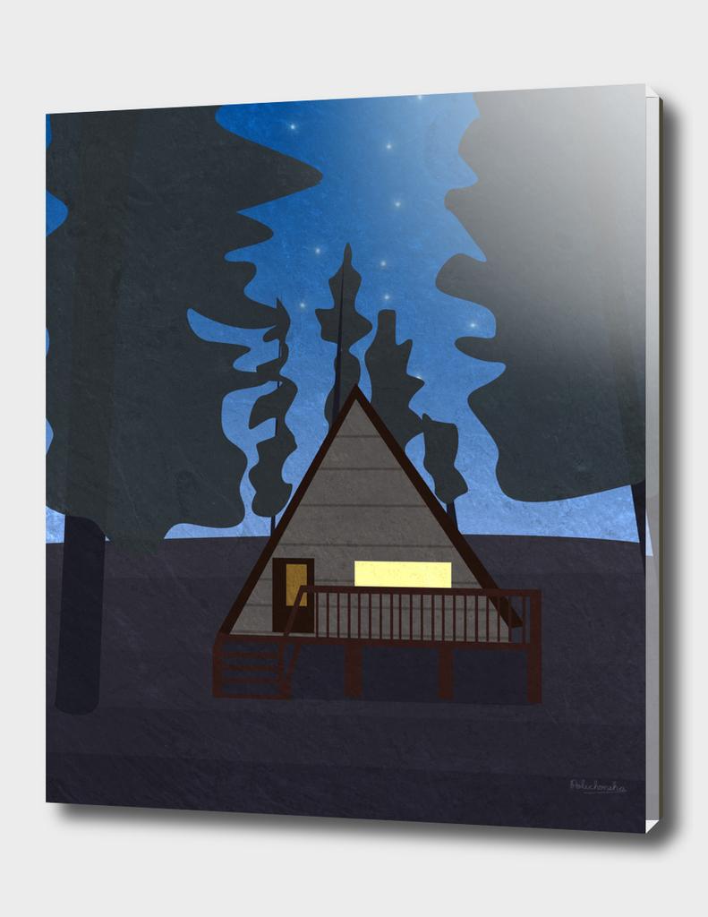Mountain Cabin At Night