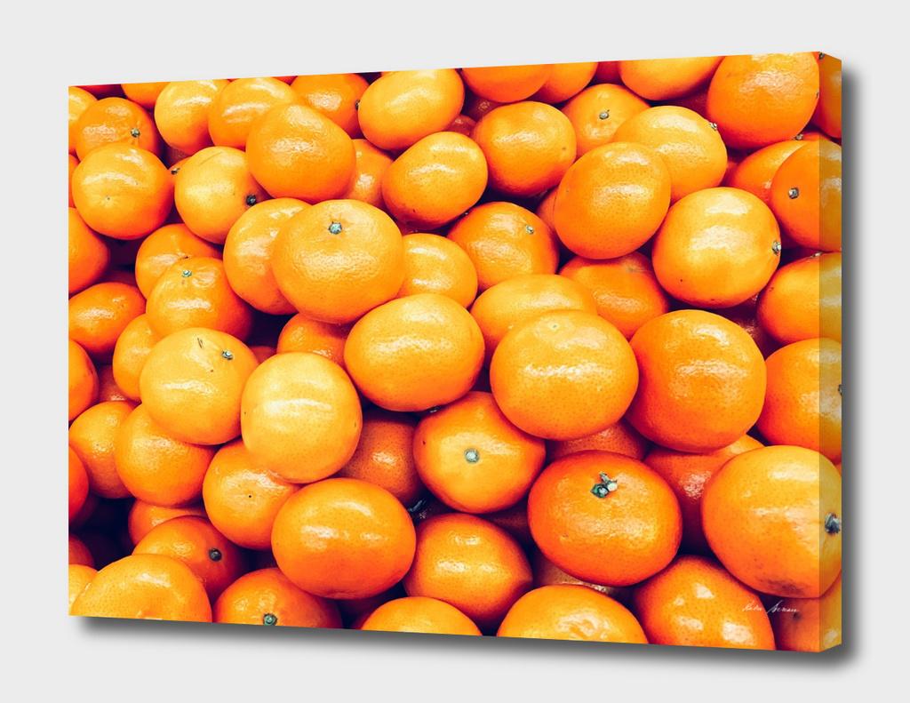 Orange Tangerines In Fruit Market