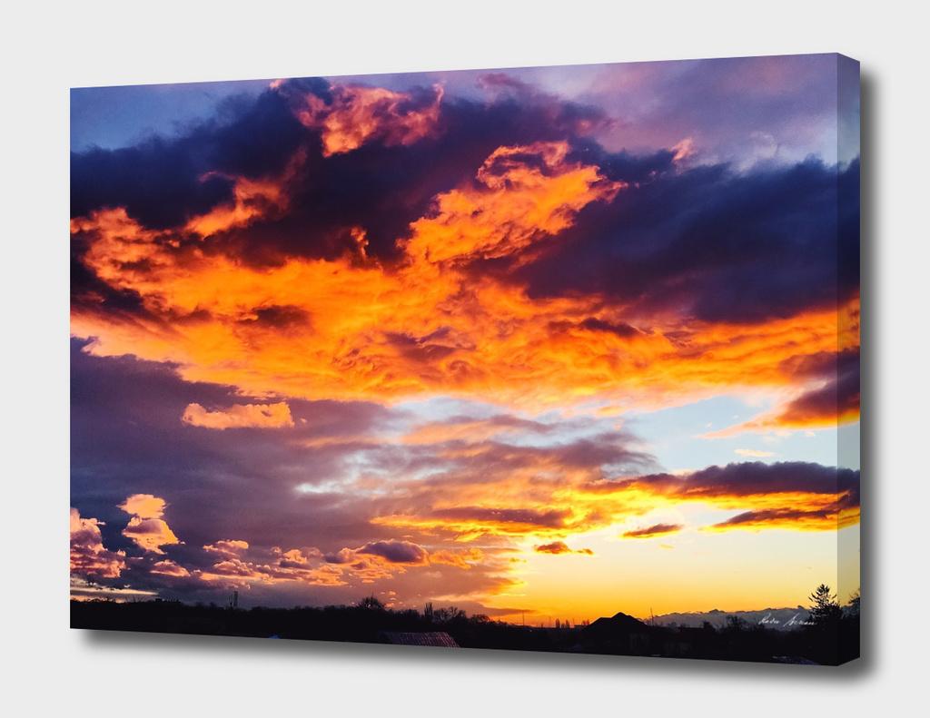 Beautiful Orange Sunset Over Village