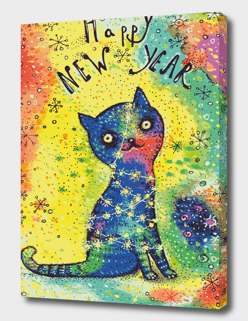 New Year cat tangled in the garlans