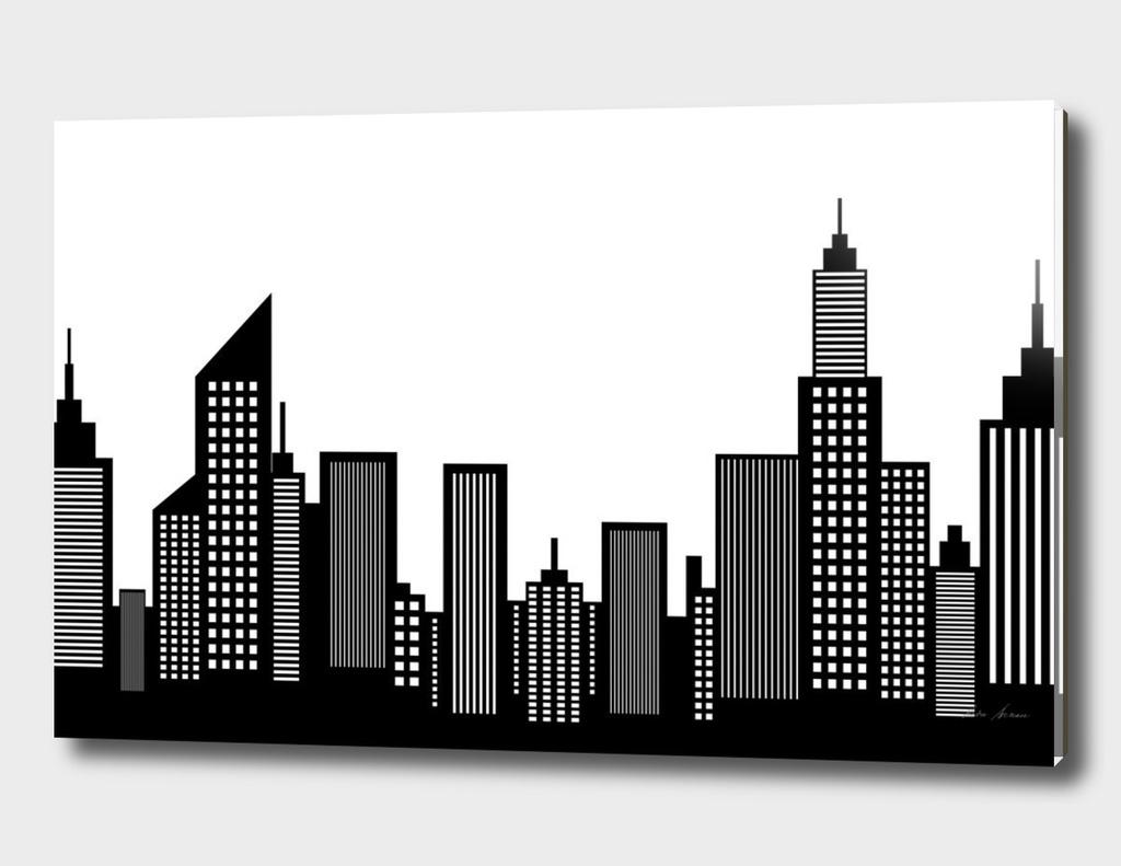 Modern American City Skyline Silhouette