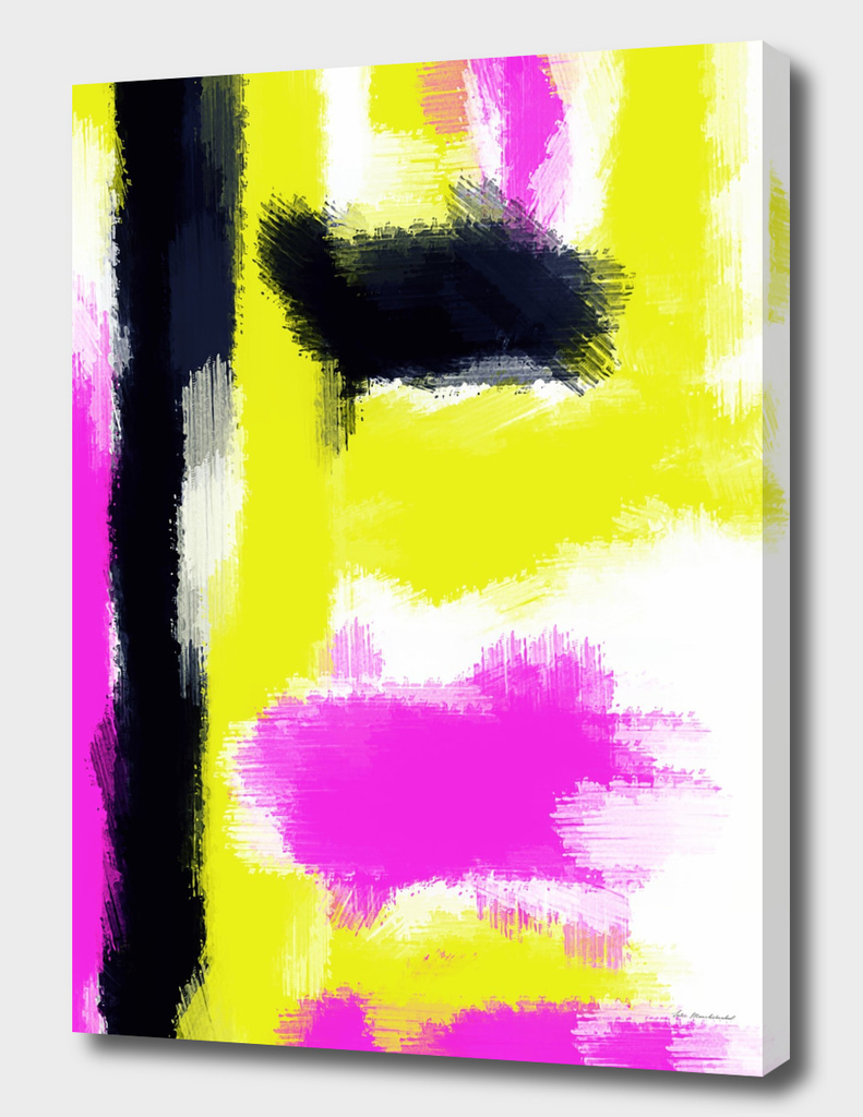 pink yellow and black watercolor painting abstract