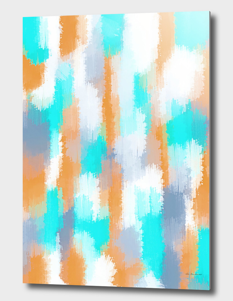 orange and blue painting abstract with white background