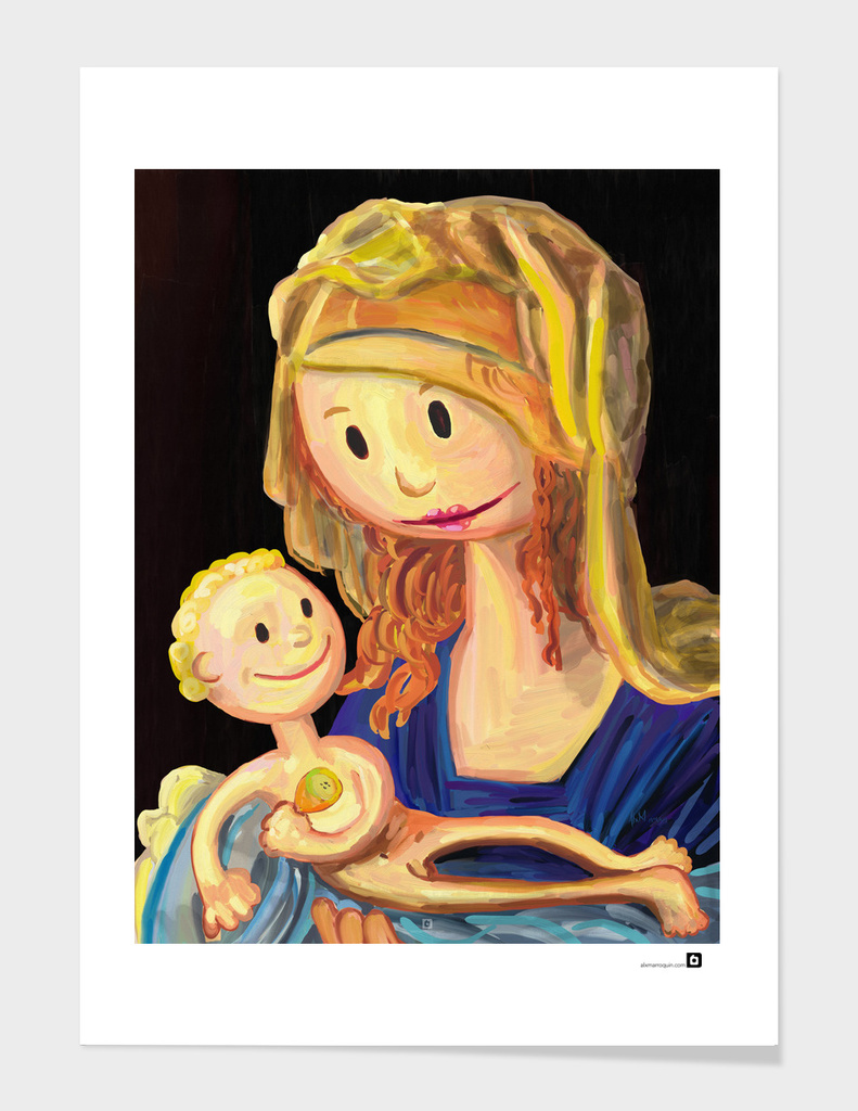 Small painting of Virgin and child holding a half eaten pear