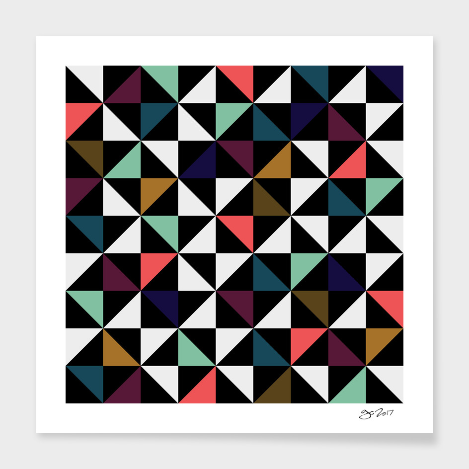 Triangle pattern (black, brown, salmon & mint)