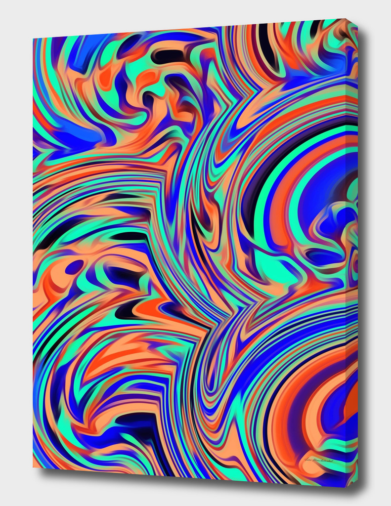 green blue orange and black curly painting