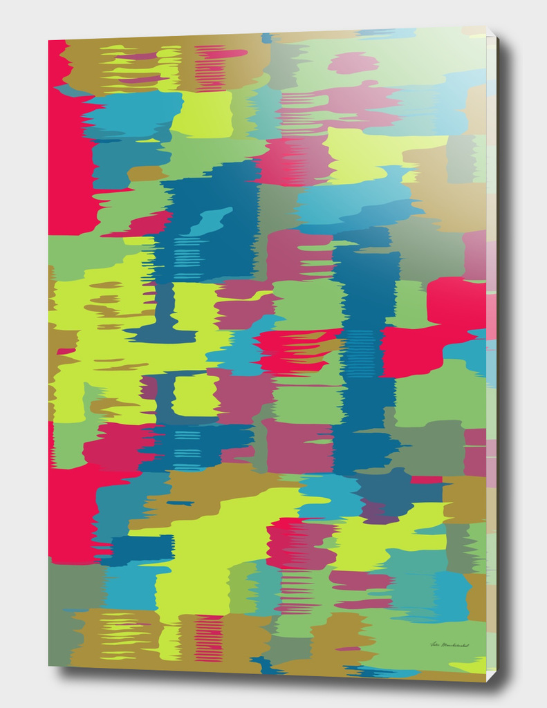 red blue green yellow pink painting