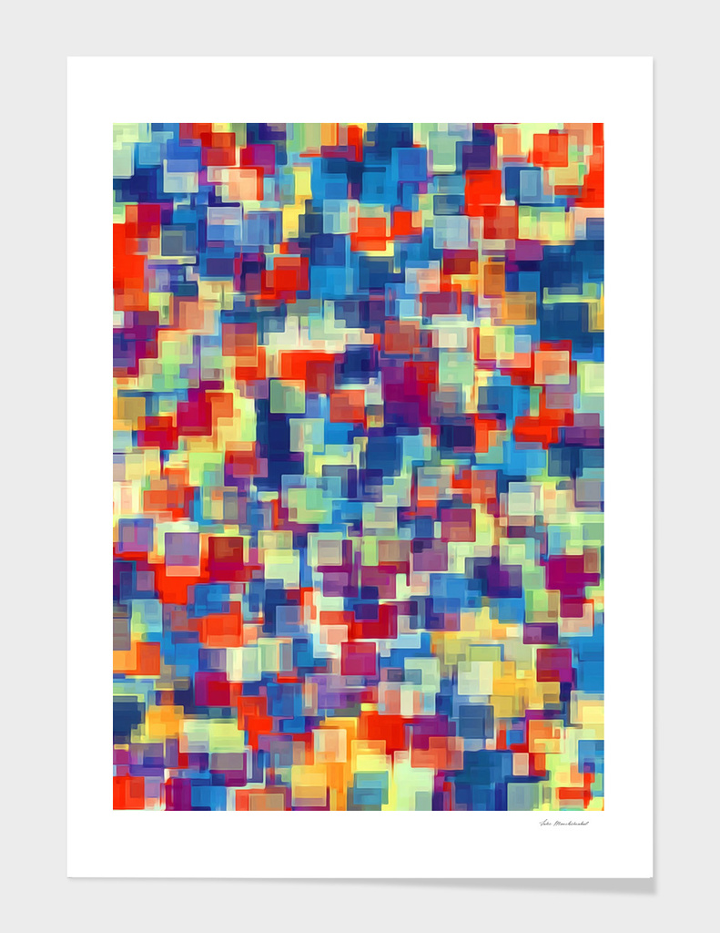 orange red and blue square pattern
