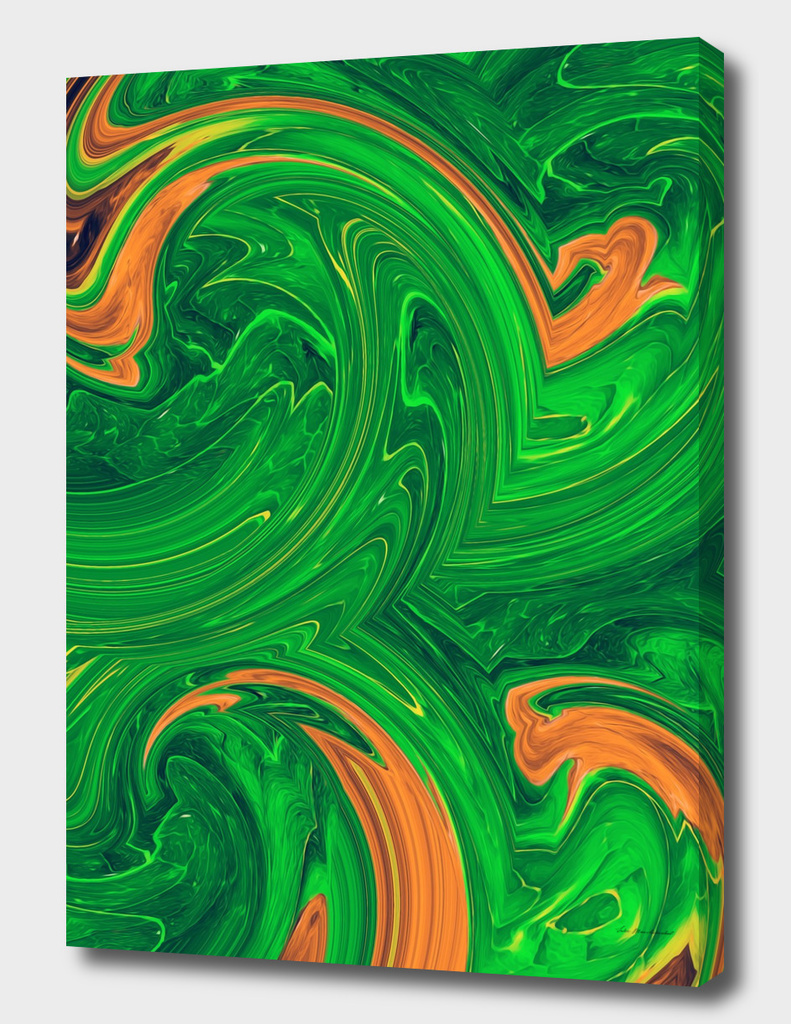 green orange and brown curly painting abstract background