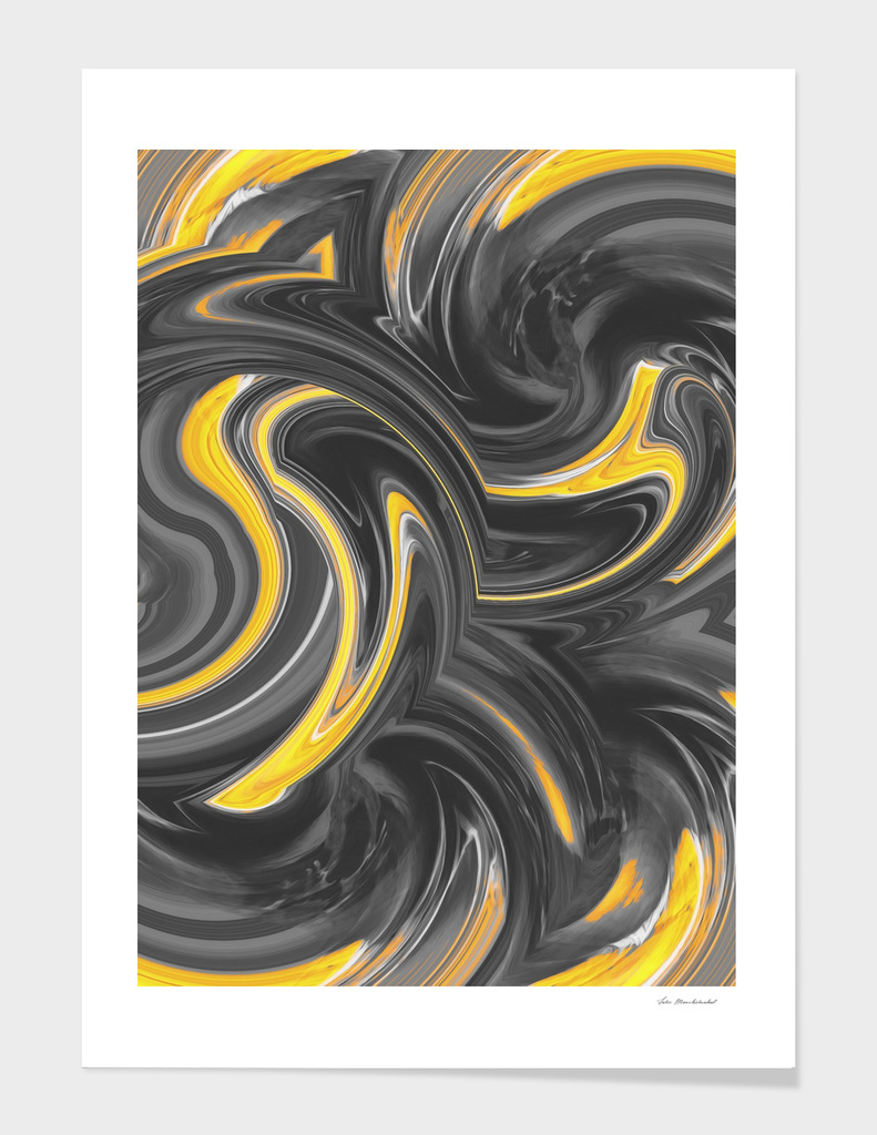 wave pattern painting abstract in yellow and black