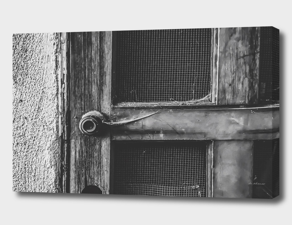 old vintage wooden door in black and white