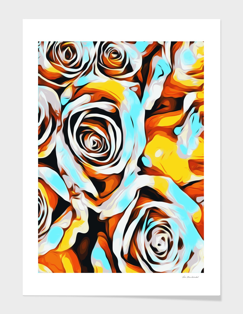 blue orange white and yellow roses texture