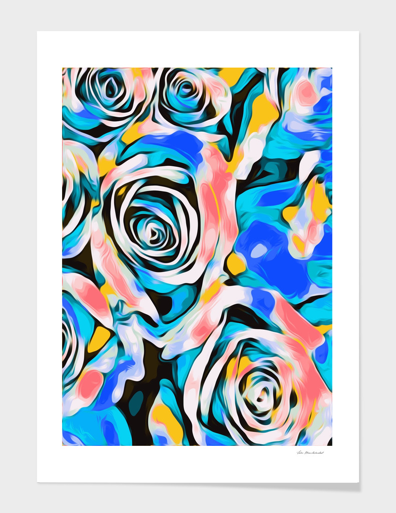 blue pink white and yellow roses texture background