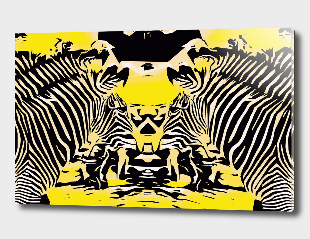 zebras with yellow and black background
